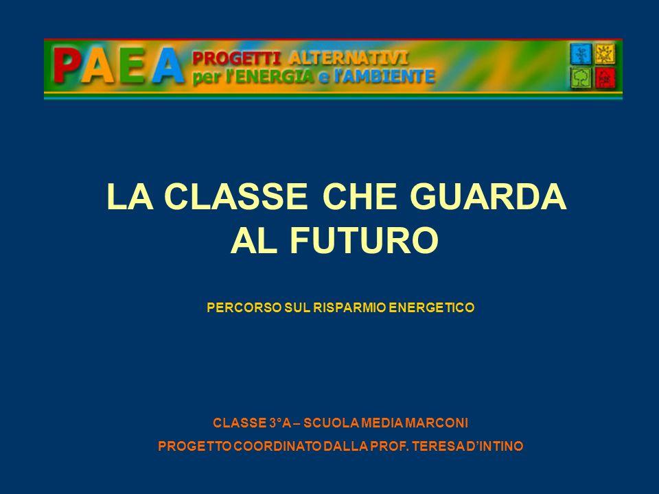 LA CLASSE CHE GUARDA AL FUTURO PERCORSO SUL RISPARMIO ENERGETICO CLASSE 3°A – SCUOLA MEDIA MARCONI PROGETTO COORDINATO DALLA PROF. TERESA DINTINO