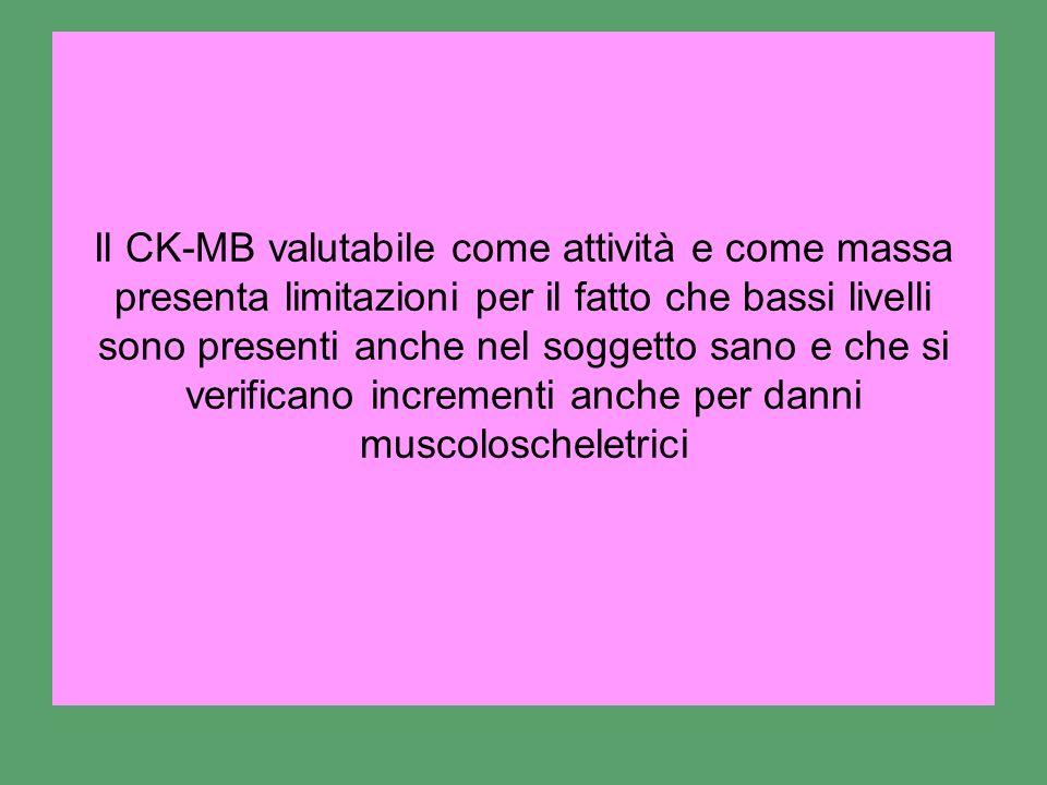 Il CK-MB valutabile come attività e come massa presenta limitazioni per il fatto che bassi livelli sono presenti anche nel soggetto sano e che si veri