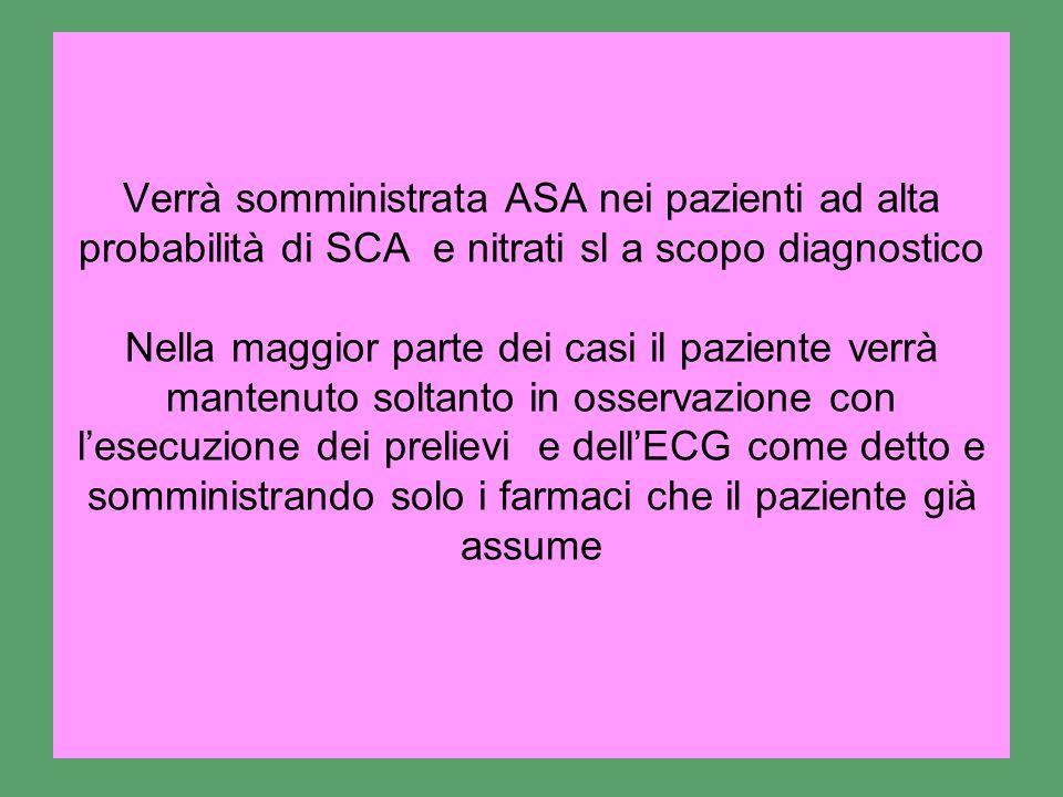 Verrà somministrata ASA nei pazienti ad alta probabilità di SCA e nitrati sl a scopo diagnostico Nella maggior parte dei casi il paziente verrà manten