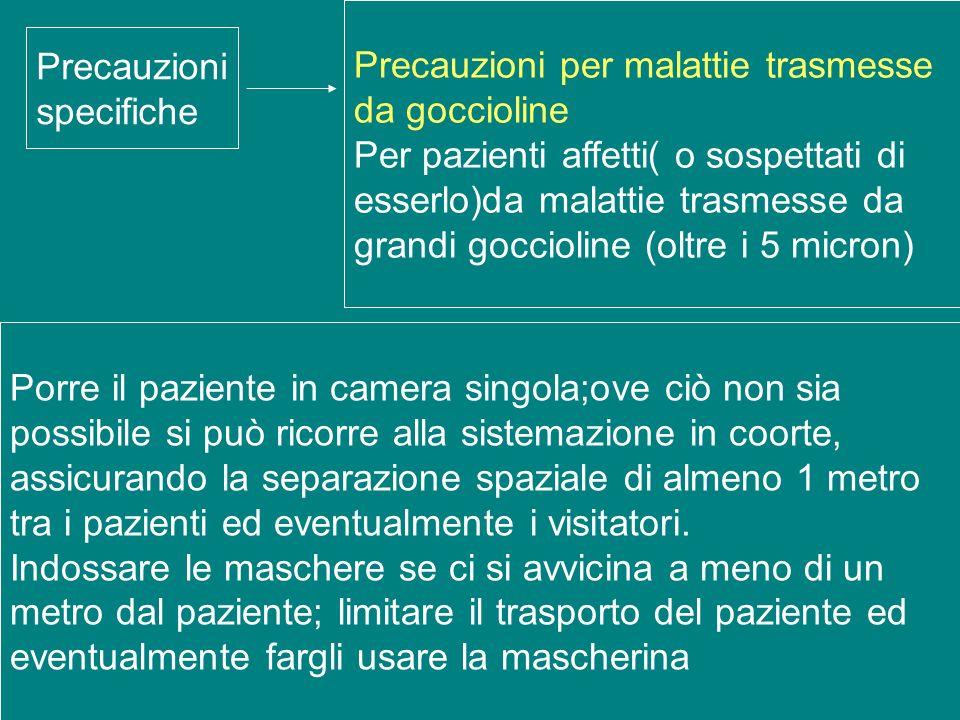 Precauzioni specifiche Precauzioni per malattie trasmesse da goccioline Per pazienti affetti( o sospettati di esserlo)da malattie trasmesse da grandi