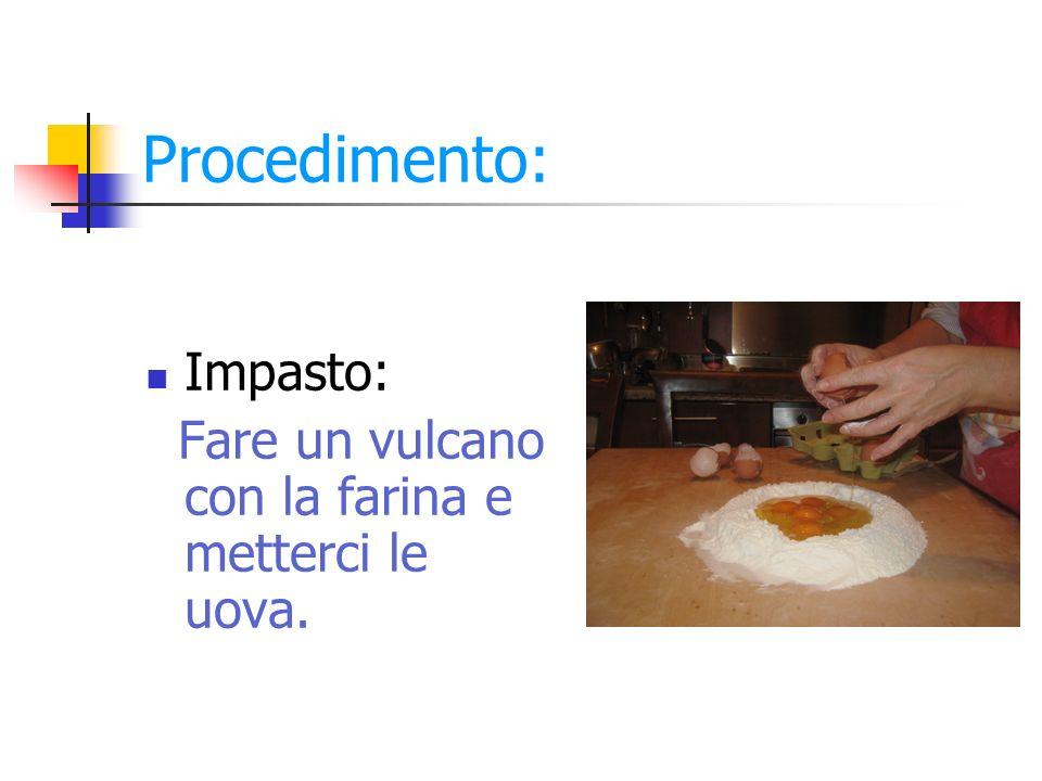 Procedimento: Impasto: Fare un vulcano con la farina e metterci le uova.
