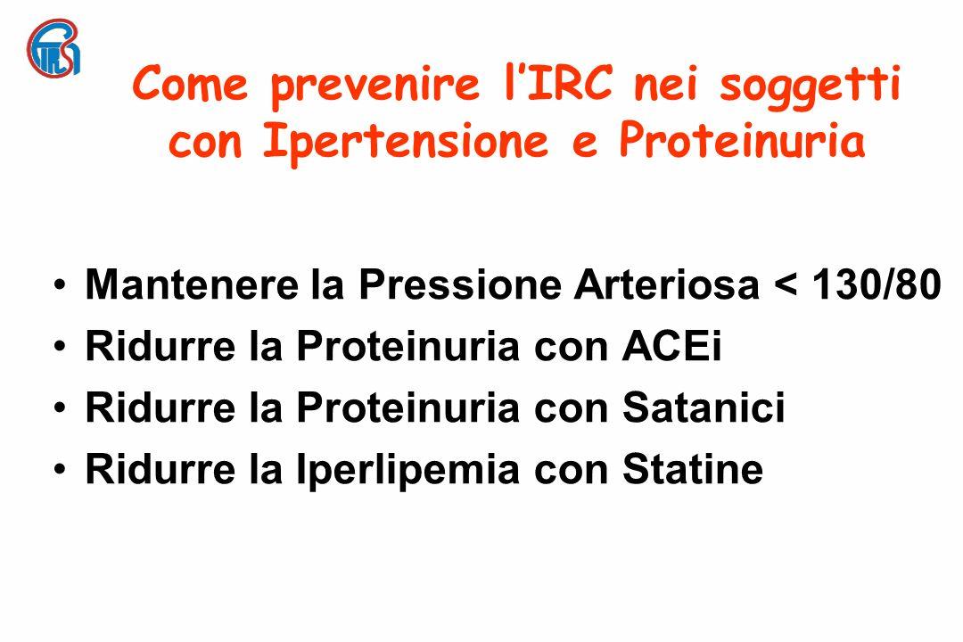 Come prevenire lIRC nei soggetti con Ipertensione e Proteinuria Mantenere la Pressione Arteriosa < 130/80 Ridurre la Proteinuria con ACEi Ridurre la Proteinuria con Satanici Ridurre la Iperlipemia con Statine