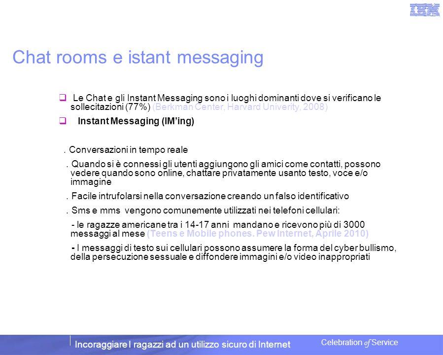 Incoraggiare I ragazzi ad un utilizzo sicuro di Internet Celebration of Service Chat rooms e istant messaging Le Chat e gli Instant Messaging sono i l