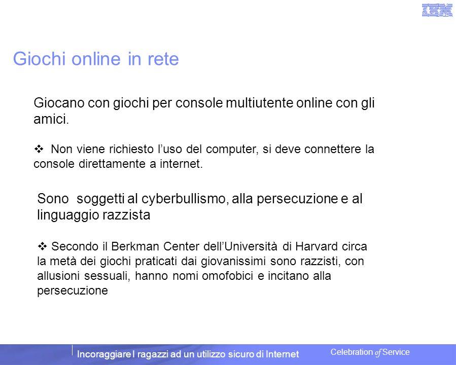 Incoraggiare I ragazzi ad un utilizzo sicuro di Internet Celebration of Service Giochi online in rete Giocano con giochi per console multiutente onlin