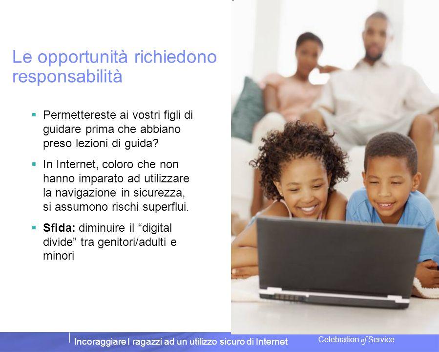 Incoraggiare I ragazzi ad un utilizzo sicuro di Internet Celebration of Service Le opportunità richiedono responsabilità Permettereste ai vostri figli