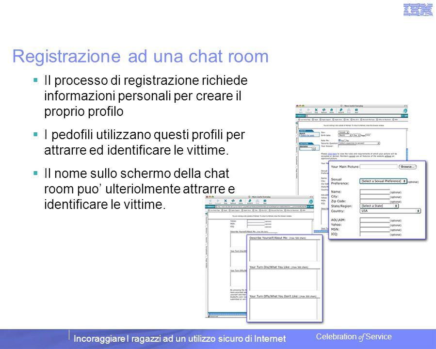 Incoraggiare I ragazzi ad un utilizzo sicuro di Internet Celebration of Service Registrazione ad una chat room Il processo di registrazione richiede i