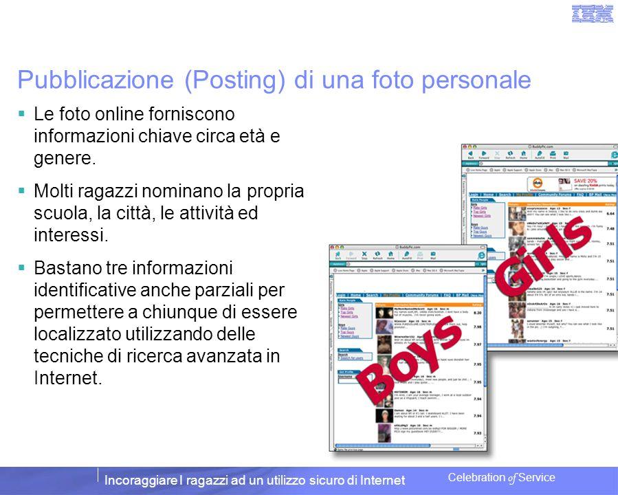 Incoraggiare I ragazzi ad un utilizzo sicuro di Internet Celebration of Service Pubblicazione (Posting) di una foto personale Le foto online forniscon