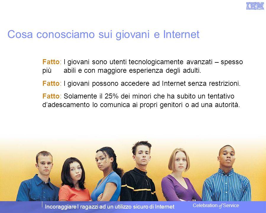 Incoraggiare I ragazzi ad un utilizzo sicuro di Internet Celebration of Service Cosa conosciamo sui giovani e Internet Fatto: I giovani sono utenti te