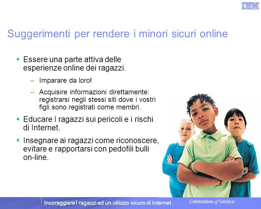 Incoraggiare I ragazzi ad un utilizzo sicuro di Internet Celebration of Service Suggerimenti per rendere i minori sicuri online Essere una parte attiv