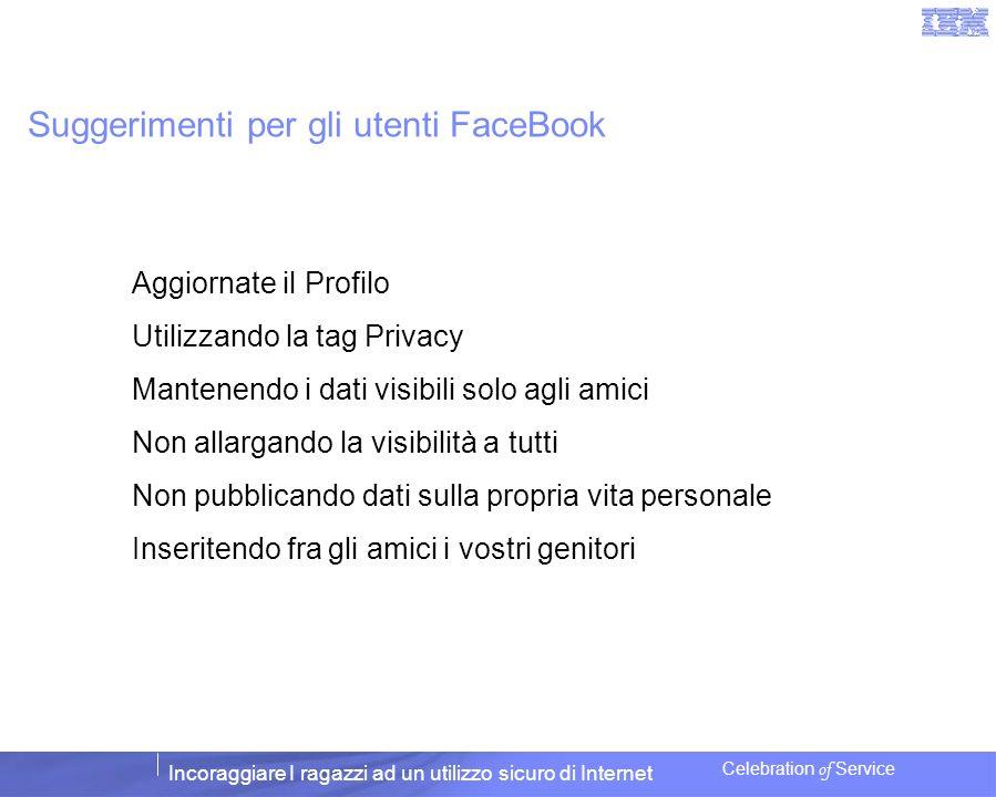 Incoraggiare I ragazzi ad un utilizzo sicuro di Internet Celebration of Service Suggerimenti per gli utenti FaceBook Aggiornate il Profilo Utilizzando