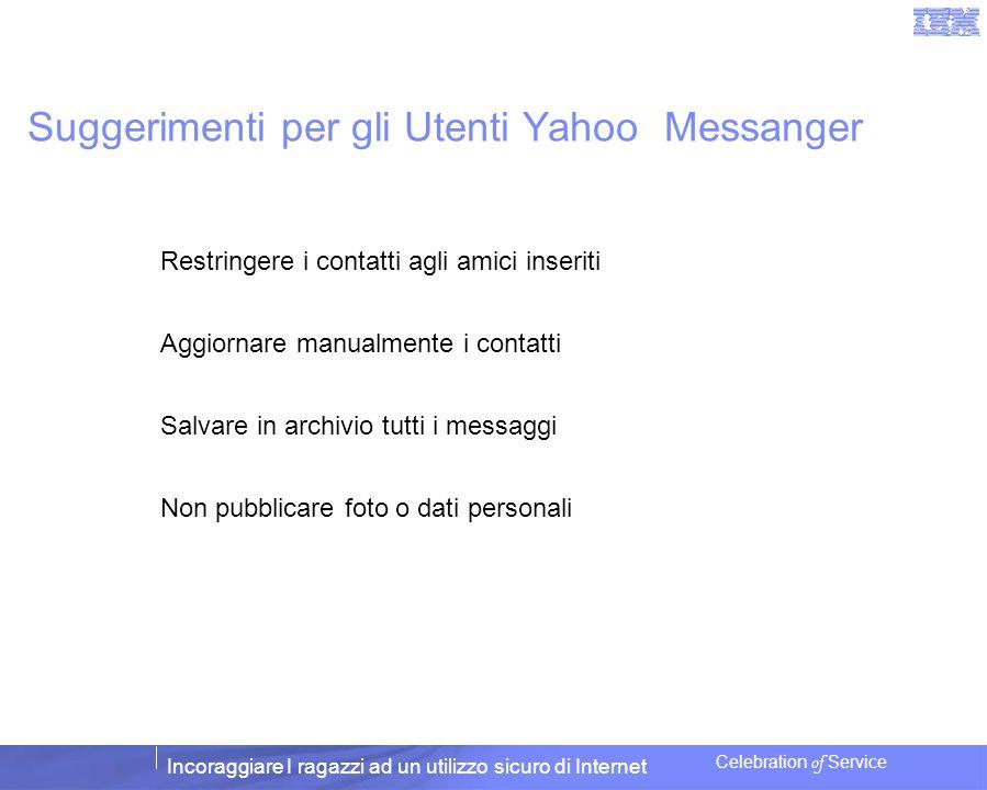 Incoraggiare I ragazzi ad un utilizzo sicuro di Internet Celebration of Service Suggerimenti per gli Utenti Yahoo Messanger Restringere i contatti agl