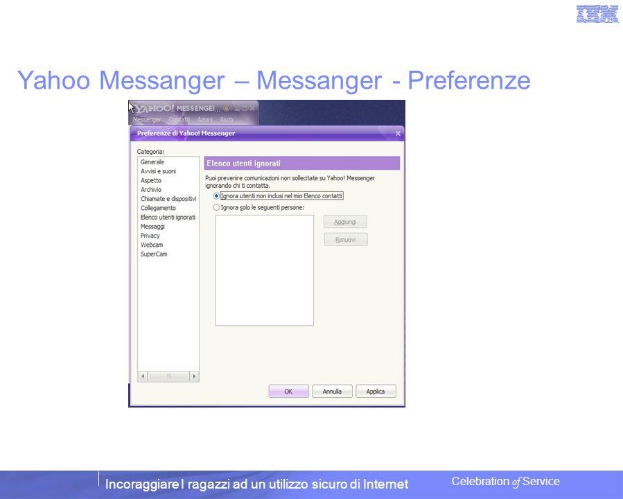 Incoraggiare I ragazzi ad un utilizzo sicuro di Internet Celebration of Service Yahoo Messanger – Messanger - Preferenze