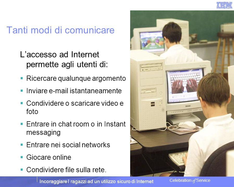 Incoraggiare I ragazzi ad un utilizzo sicuro di Internet Celebration of Service Tanti modi di comunicare Laccesso ad Internet permette agli utenti di: