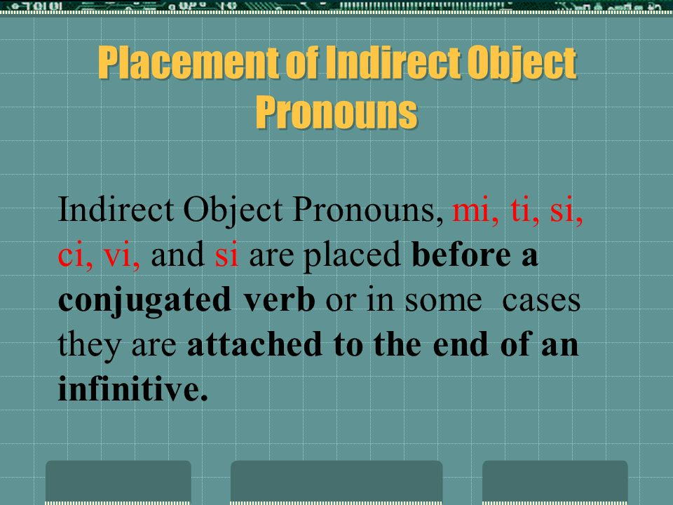 Placement of Indirect Object Pronouns Indirect Object Pronouns, mi, ti, si, ci, vi, and si are placed before a conjugated verb or in some cases they are attached to the end of an infinitive.
