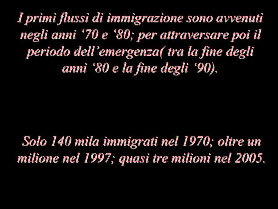 Solo 140 mila immigrati nel 1970; oltre un milione nel 1997; quasi tre milioni nel 2005.