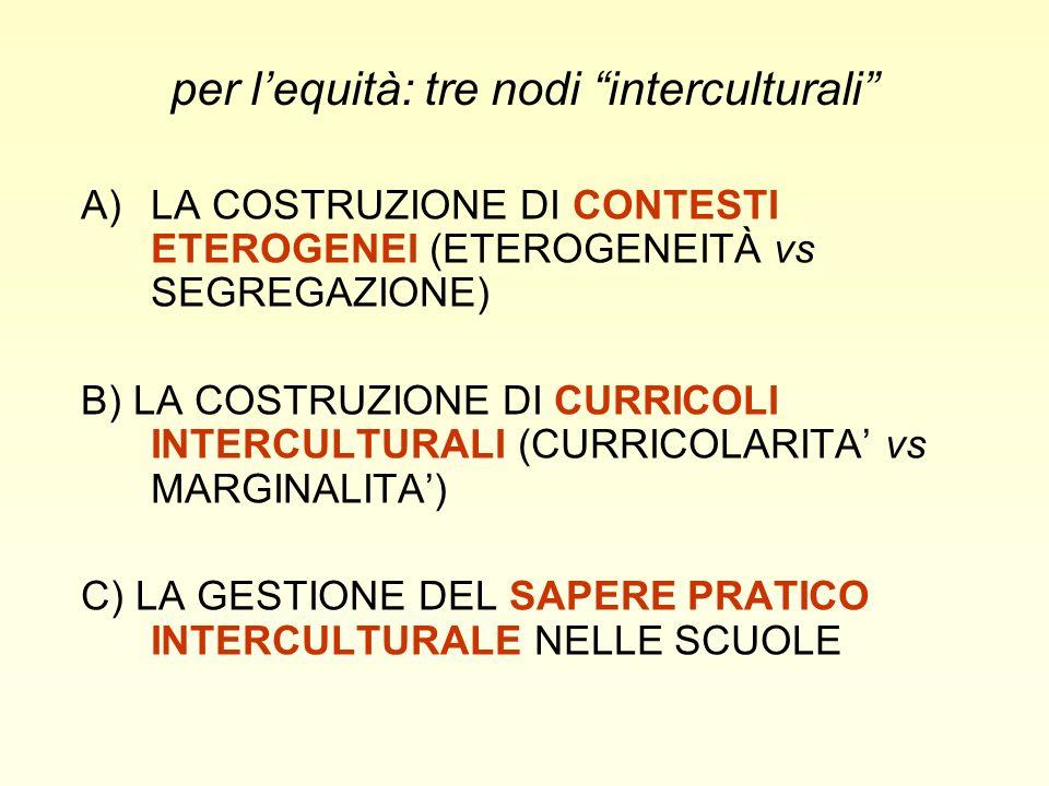 A)LA COSTRUZIONE DI CONTESTI ETEROGENEI (ETEROGENEITÀ vs SEGREGAZIONE) B) LA COSTRUZIONE DI CURRICOLI INTERCULTURALI (CURRICOLARITA vs MARGINALITA) C) LA GESTIONE DEL SAPERE PRATICO INTERCULTURALE NELLE SCUOLE per lequità: tre nodi interculturali