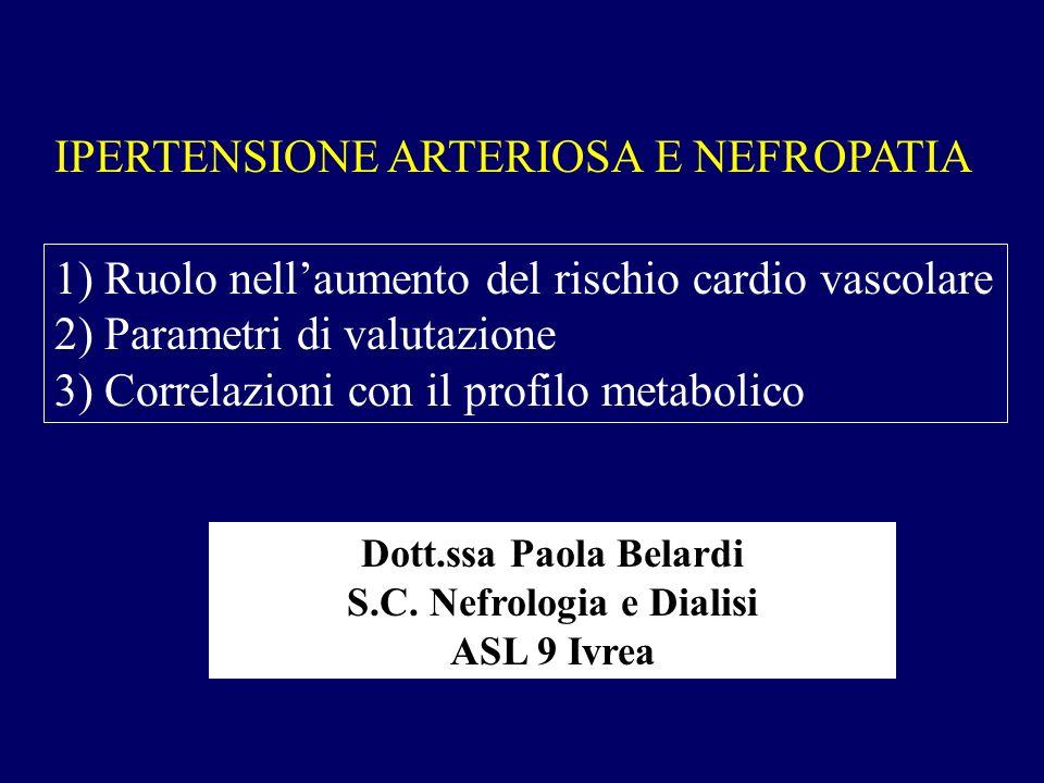 IPERTENSIONE ARTERIOSA E NEFROPATIA 1) Ruolo nellaumento del rischio cardio vascolare 2) Parametri di valutazione 3) Correlazioni con il profilo metab