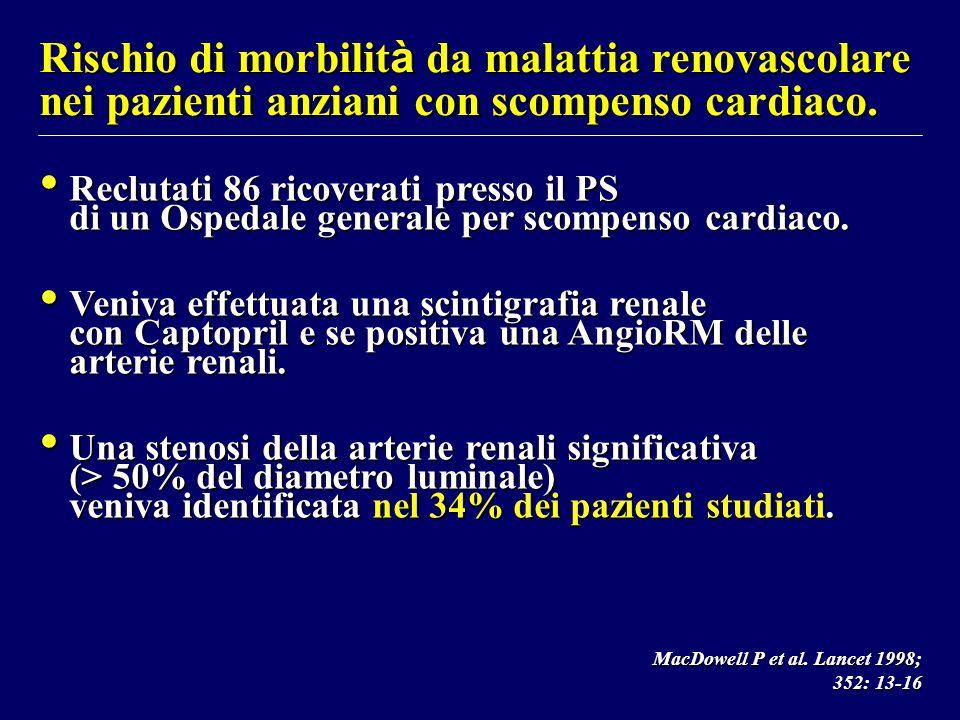Rischio di morbilit à da malattia renovascolare nei pazienti anziani con scompenso cardiaco. Reclutati 86 ricoverati presso il PS di un Ospedale gener