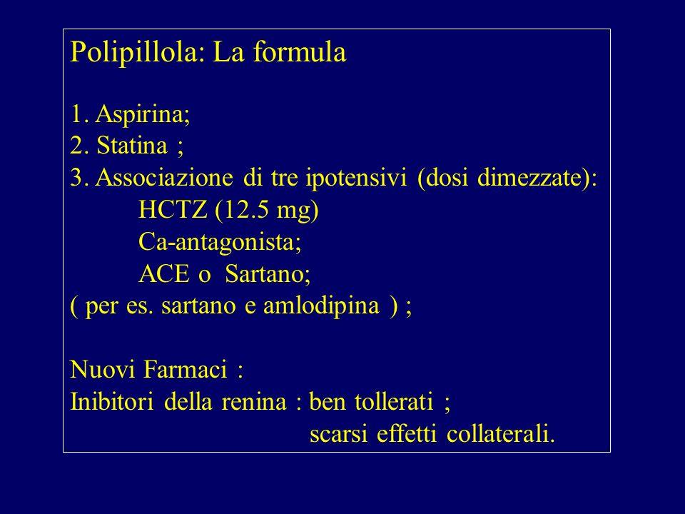 Polipillola: La formula 1. Aspirina; 2. Statina ; 3. Associazione di tre ipotensivi (dosi dimezzate): HCTZ (12.5 mg) Ca-antagonista; ACE o Sartano; (