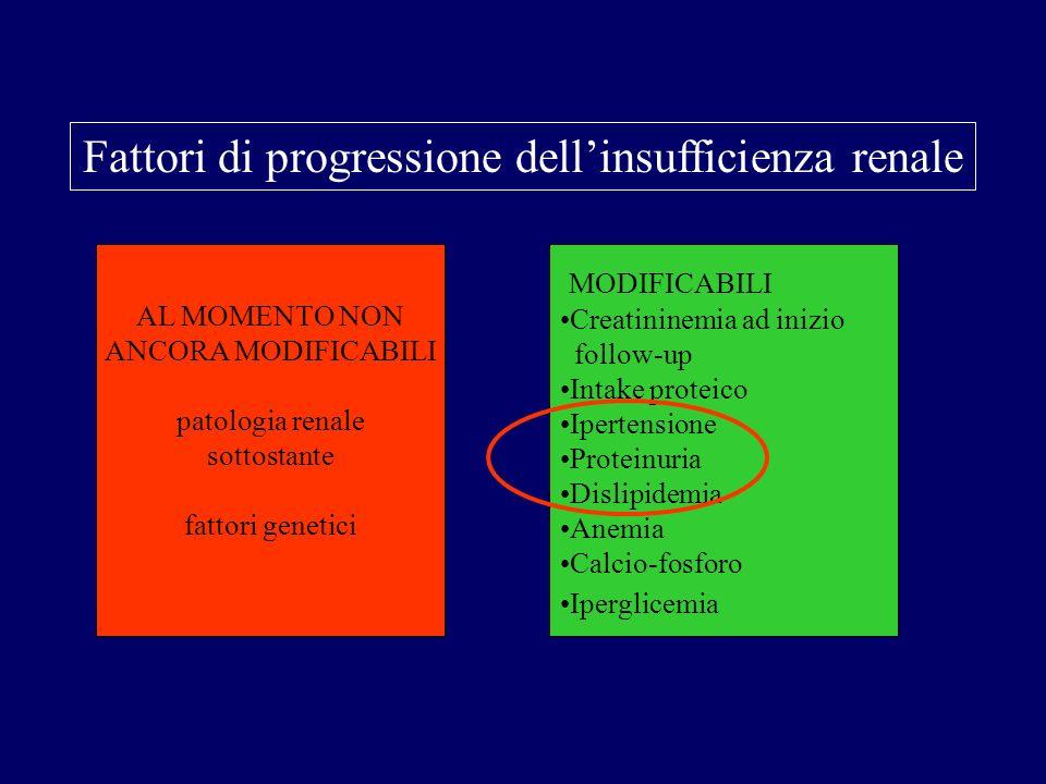 Fattori di progressione dellinsufficienza renale AL MOMENTO NON ANCORA MODIFICABILI patologia renale sottostante fattori genetici MODIFICABILI Creatin