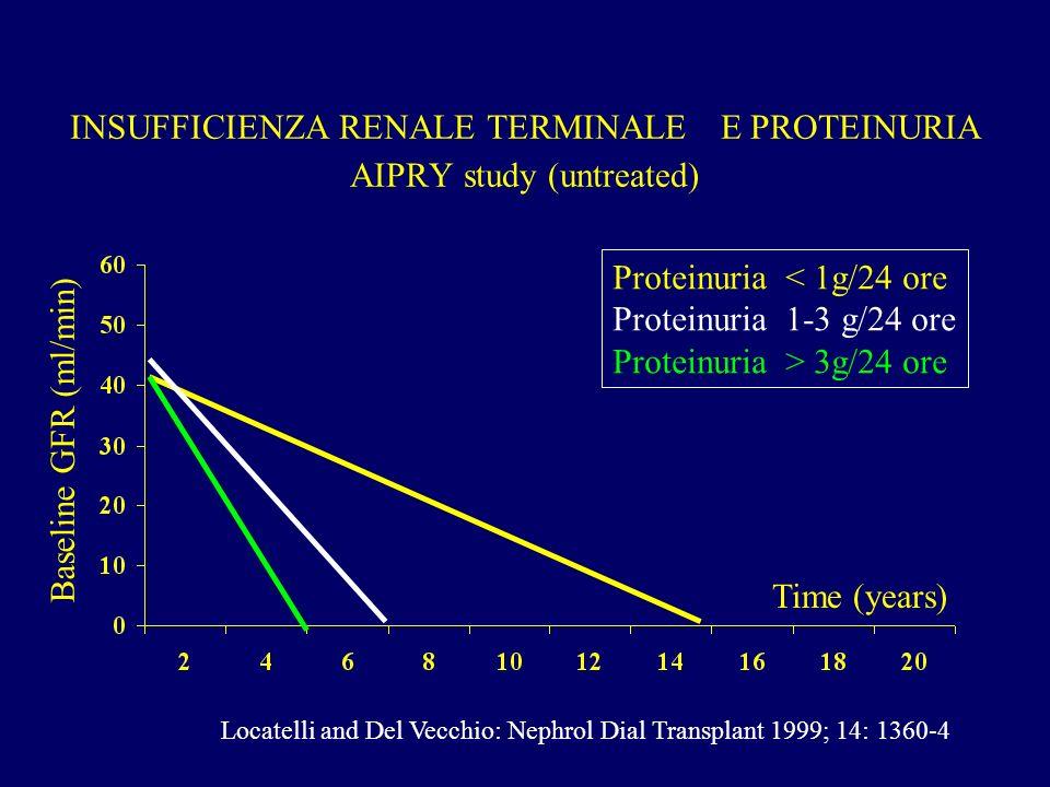INSUFFICIENZA RENALE TERMINALE E PROTEINURIA AIPRY study (untreated) Proteinuria < 1g/24 ore Proteinuria 1-3 g/24 ore Proteinuria > 3g/24 ore Time (ye