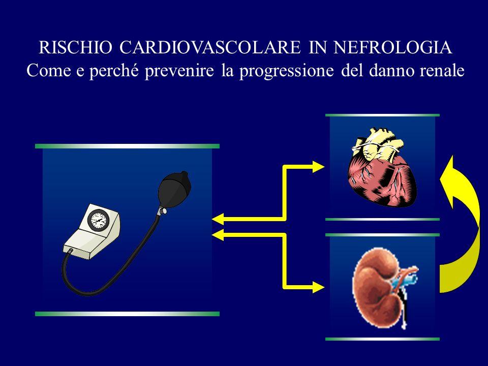 PROGRESSIONE NEFROPATIA ruolo della ipertensione arteriosa ad inizio follow-up Mean BP Months Cumulative renal survival Locatelli et al: Nephrol Dial Transplant 1996; 11: 461-7