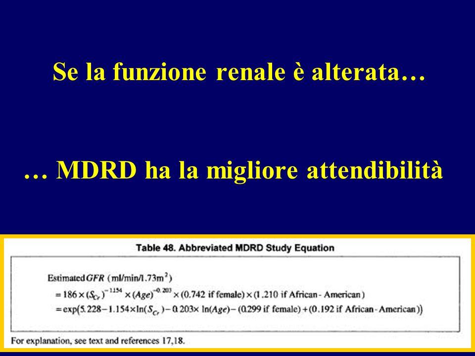 Se la funzione renale è alterata… … MDRD ha la migliore attendibilità
