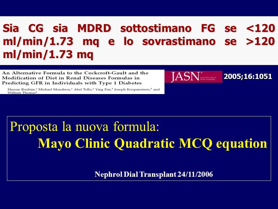 2005;16:1051 Sia CG sia MDRD sottostimano FG se 120 ml/min/1.73 mq Proposta la nuova formula: Mayo Clinic Quadratic MCQ equation Nephrol Dial Transpla