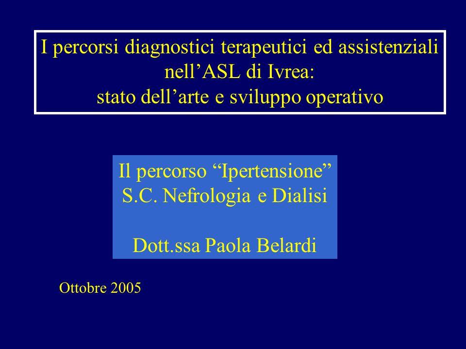 I percorsi diagnostici terapeutici ed assistenziali nellASL di Ivrea: stato dellarte e sviluppo operativo Il percorso Ipertensione S.C. Nefrologia e D