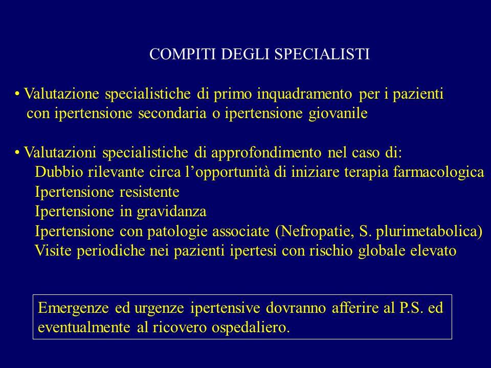 COMPITI DEGLI SPECIALISTI Valutazione specialistiche di primo inquadramento per i pazienti con ipertensione secondaria o ipertensione giovanile Valuta