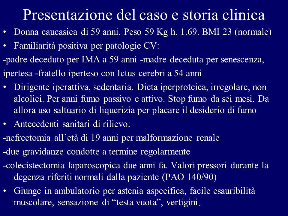Presentazione del caso e storia clinica Donna caucasica di 59 anni. Peso 59 Kg h. 1.69. BMI 23 (normale) Familiarità positiva per patologie CV: -padre