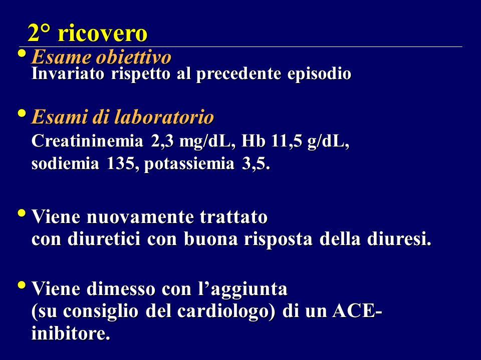 2° ricovero Esame obiettivo Invariato rispetto al precedente episodio Esami di laboratorio Creatininemia 2,3 mg/dL, Hb 11,5 g/dL, sodiemia 135, potass