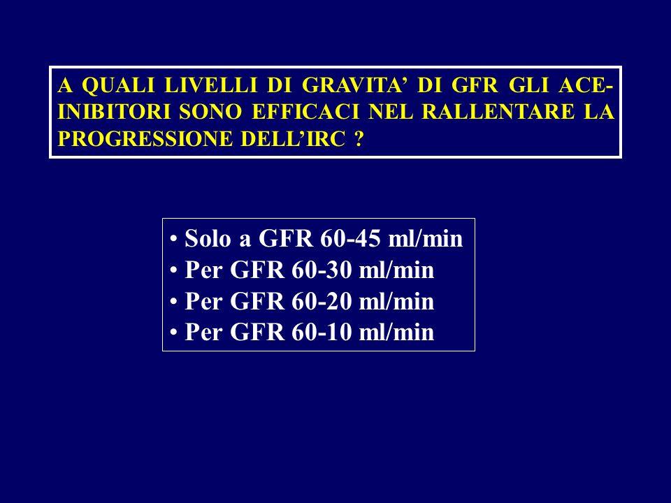 A QUALI LIVELLI DI GRAVITA DI GFR GLI ACE- INIBITORI SONO EFFICACI NEL RALLENTARE LA PROGRESSIONE DELLIRC ? Solo a GFR 60-45 ml/min Per GFR 60-30 ml/m