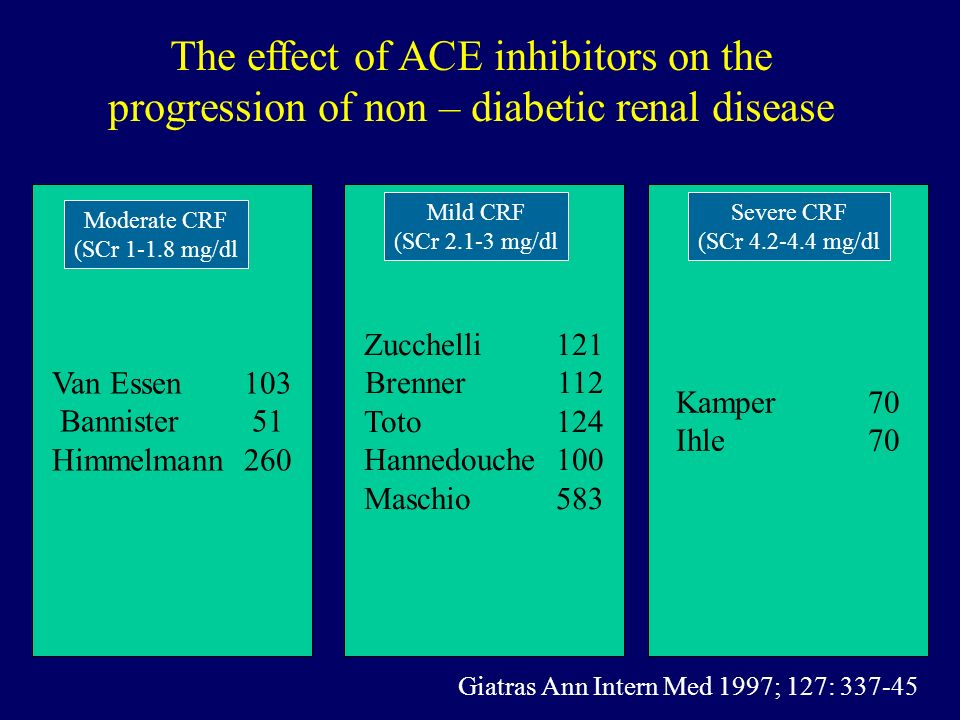 Zucchelli121 Brenner112 Toto124 Hannedouche100 Maschio583 Kamper70 Ihle70 Van Essen103 Bannister51 Himmelmann260 The effect of ACE inhibitors on the p