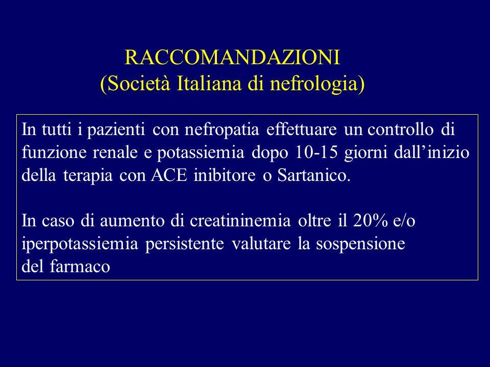 RACCOMANDAZIONI (Società Italiana di nefrologia) In tutti i pazienti con nefropatia effettuare un controllo di funzione renale e potassiemia dopo 10-1