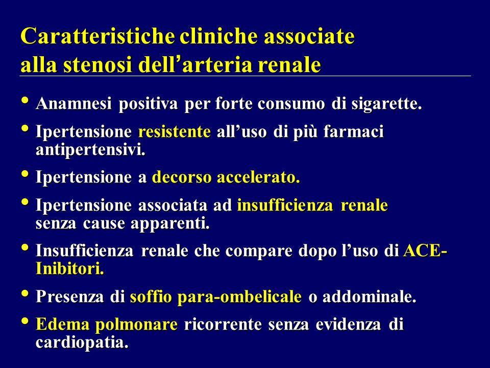 Caratteristiche cliniche associate alla stenosi dell arteria renale Anamnesi positiva per forte consumo di sigarette. Ipertensione resistente alluso d