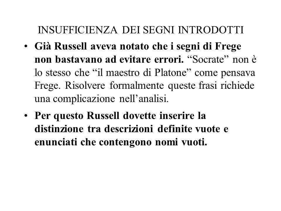 INSUFFICIENZA DEI SEGNI INTRODOTTI Già Russell aveva notato che i segni di Frege non bastavano ad evitare errori. Socrate non è lo stesso che il maest