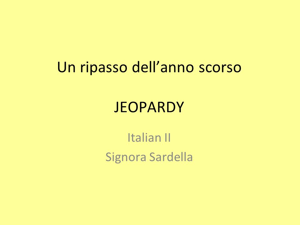 I Pronomi soggetto SingolarePlurale 1 a personaio Inoi we 2 a personatu you (informal) voi you 3 a personaLei you (formal) Loro you lui/lei he/ she loro they