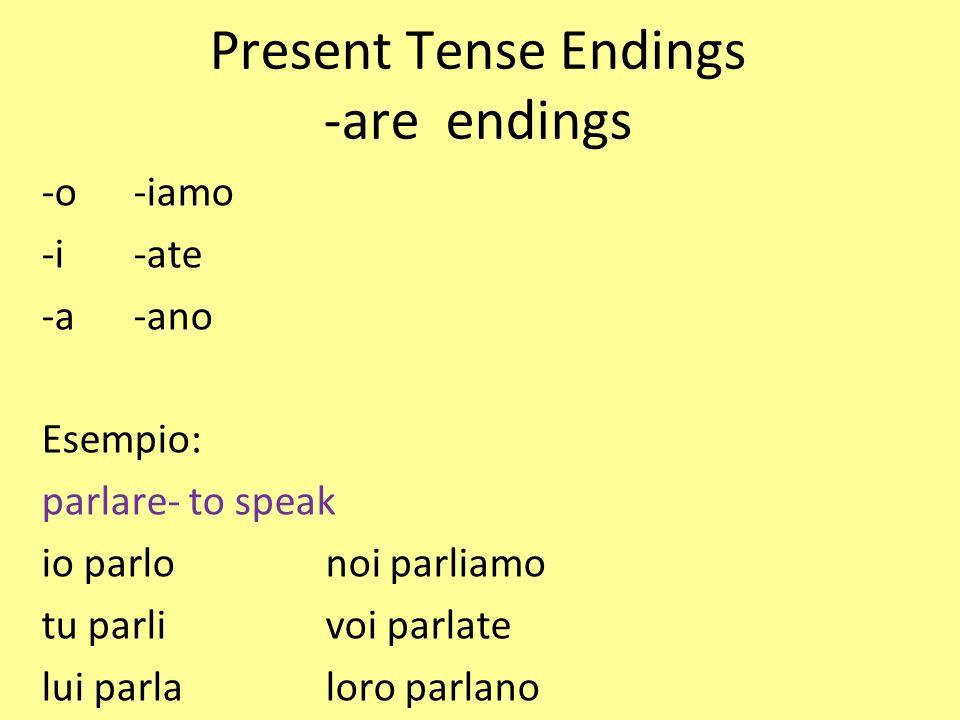 Present Tense Endings -are endings -o-iamo -i-ate -a-ano Esempio: parlare- to speak io parlonoi parliamo tu parlivoi parlate lui parlaloro parlano