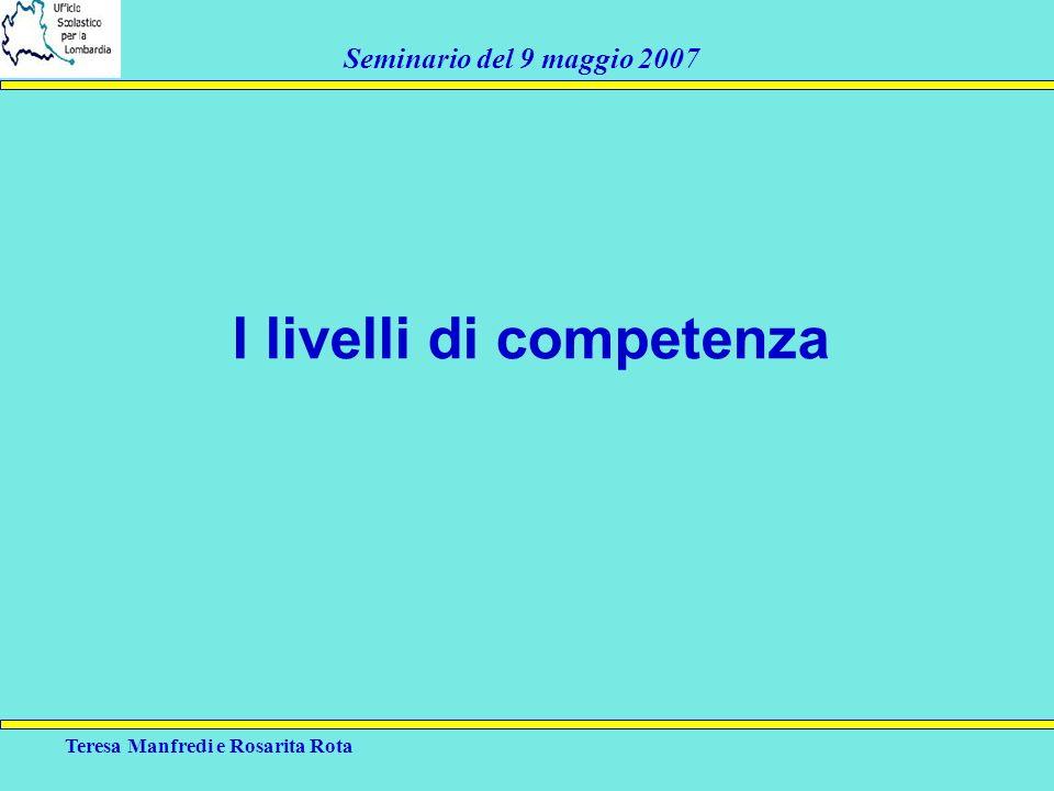 Teresa Manfredi e Rosarita Rota Seminario del 9 maggio 2007 I livelli di competenza