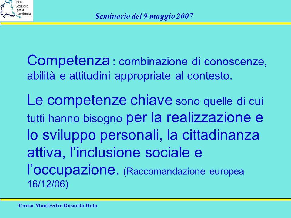 Teresa Manfredi e Rosarita Rota Seminario del 9 maggio 2007 Competenza : combinazione di conoscenze, abilità e attitudini appropriate al contesto. Le