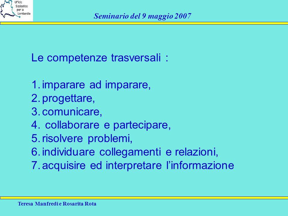 Teresa Manfredi e Rosarita Rota Seminario del 9 maggio 2007 Le competenze trasversali : 1.imparare ad imparare, 2.progettare, 3.comunicare, 4. collabo