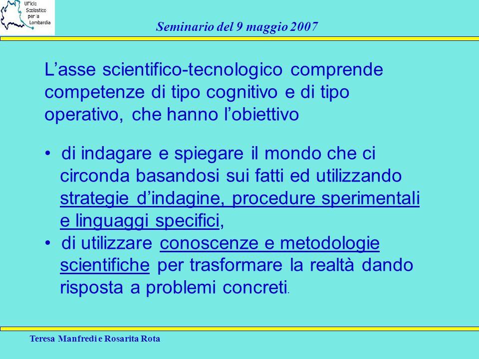 Teresa Manfredi e Rosarita Rota Seminario del 9 maggio 2007 Lasse scientifico-tecnologico comprende competenze di tipo cognitivo e di tipo operativo,
