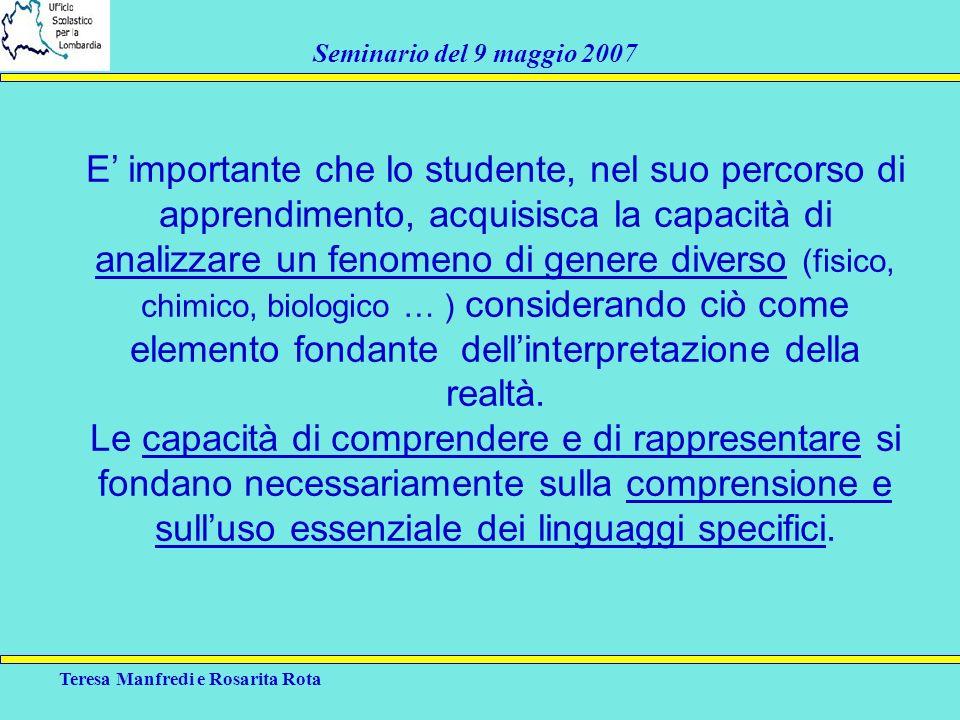Teresa Manfredi e Rosarita Rota Seminario del 9 maggio 2007 E importante che lo studente, nel suo percorso di apprendimento, acquisisca la capacità di