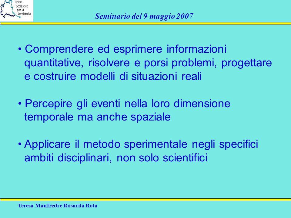 Teresa Manfredi e Rosarita Rota Seminario del 9 maggio 2007 Comprendere ed esprimere informazioni quantitative, risolvere e porsi problemi, progettare