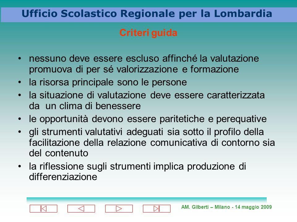 AM. Gilberti – Milano - 14 maggio 2009 Ufficio Scolastico Regionale per la Lombardia Criteri guida nessuno deve essere escluso affinché la valutazione