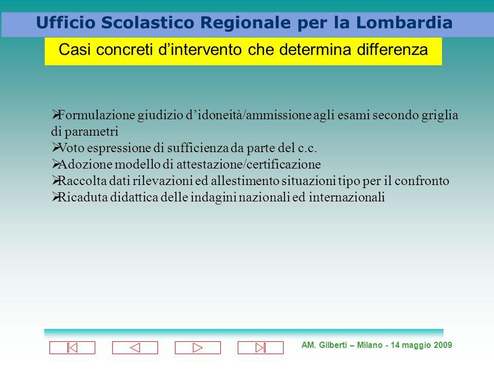 AM. Gilberti – Milano - 14 maggio 2009 Ufficio Scolastico Regionale per la Lombardia Casi concreti dintervento che determina differenza Formulazione g