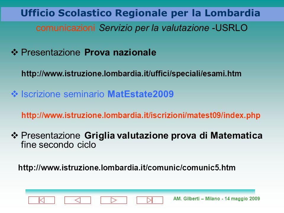 AM. Gilberti – Milano - 14 maggio 2009 Ufficio Scolastico Regionale per la Lombardia comunicazioni Servizio per la valutazione -USRLO Presentazione Pr