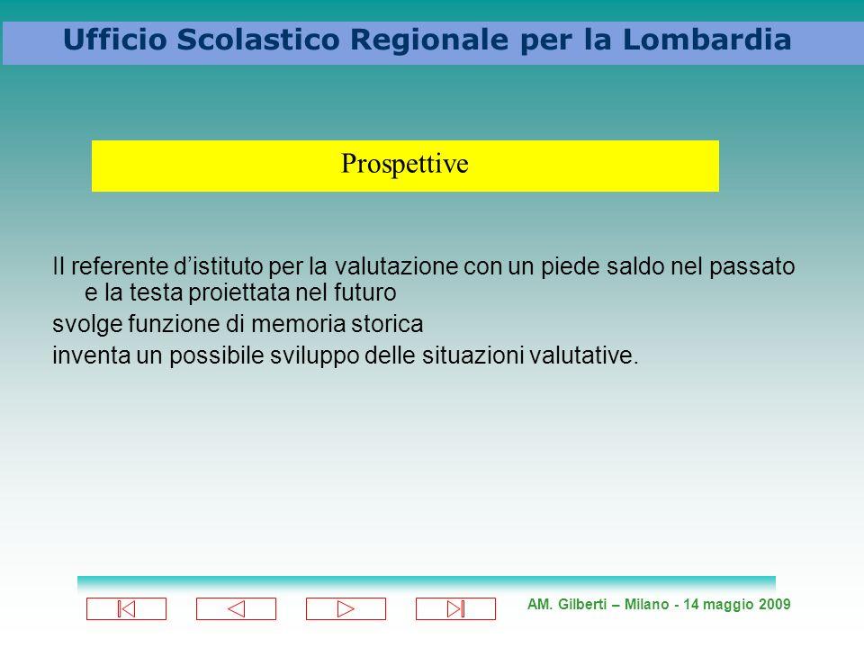 AM. Gilberti – Milano - 14 maggio 2009 Ufficio Scolastico Regionale per la Lombardia Il referente distituto per la valutazione con un piede saldo nel