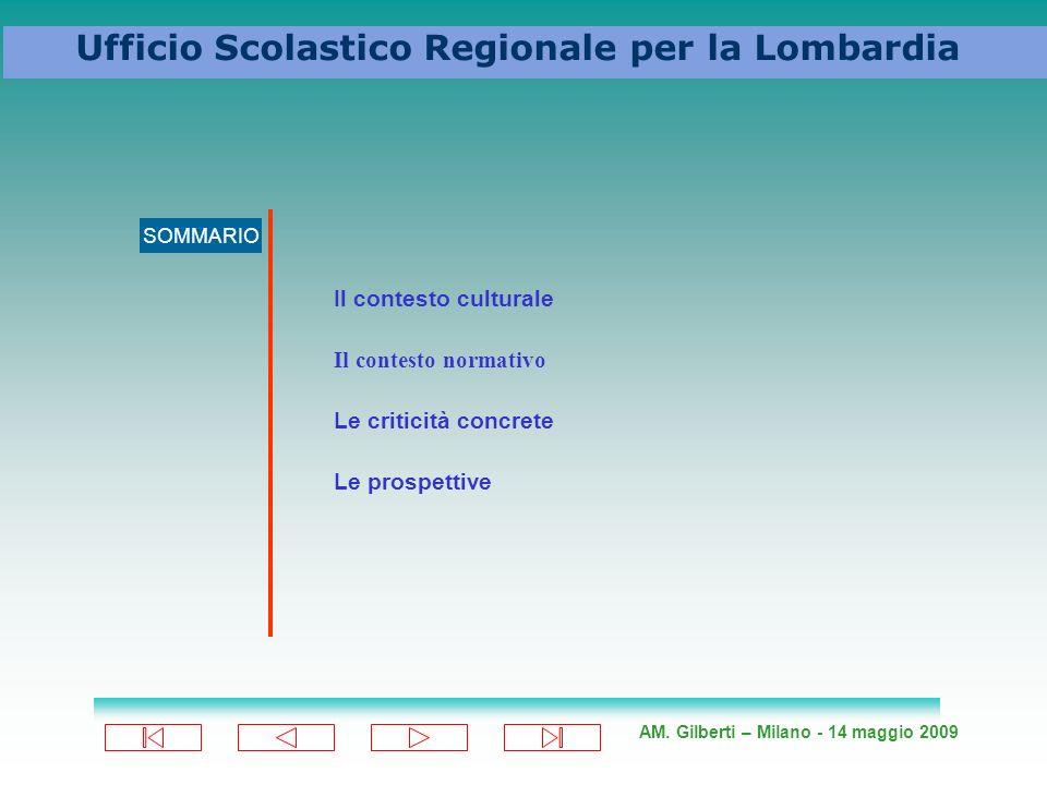 AM. Gilberti – Milano - 14 maggio 2009 Ufficio Scolastico Regionale per la Lombardia SOMMARIO Il contesto culturale Il contesto normativo Le criticità